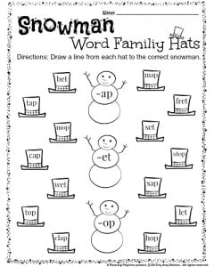 Kindergarten Word Families worksheet - Snow Man Hats. Draw a line from each hat to the correct snowman. Color the hats if you finish early. #kindergarten #worksheets #wordfamilies
