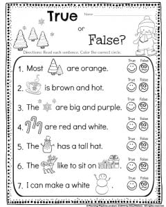 Worksheets Reading Kindergarten Worksheets kindergarten math and literacy worksheets for december planning reading comprehension worksheet true or false silly sentences read the sentences
