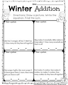 1st Grade December Math and Literacy Worksheets - Planning Playtime