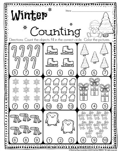 math worksheet : kindergarten math and literacy worksheets for december  planning  : Kindergarten Counting Worksheets