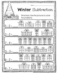 Kindergarten subtraction worksheet. Use the pictures to solve the equation. #kindergarten #subtraction #worksheet