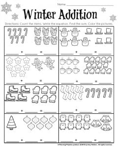 math worksheet : 1st grade december math and literacy worksheets  planning playtime : Winter Math Worksheet