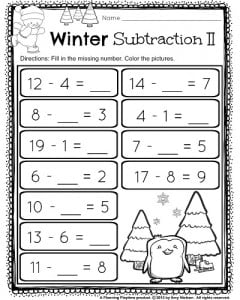 1st Grade December subtraction worksheet. Fill in the missing part of ...