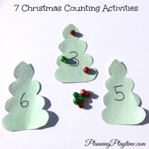 7 Christmas Counting Ideas for Preschool. Bells on a Christmas Tree and other fun ideas for kids.
