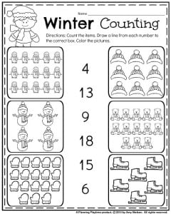 January Kindergarten Count Worksheet Count The Items Draw A Line From Each Number To The Correct Box Color The Pictures X on kindergarten worksheets number families