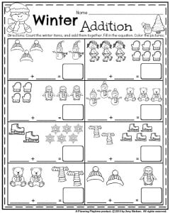 january kindergarten worksheets january kindergarten math worksheets  winter addition