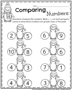 January Kindergarten math worksheets - Comparing numbers 1-10. Write the , =, symbol on the penguins tummy.