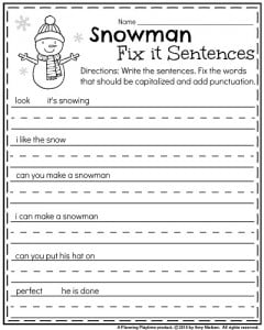 January Kindergarten punctuation worksheet - Snowman Fix it sentences