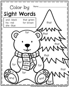 january kindergarten worksheets cut and january kindergarten reading worksheet  polar bear color by sight  word