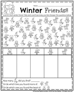 January Kindergarten worksheets - Winter friends find, tally, and compare.
