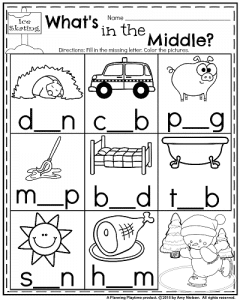 January kindergarten reading worksheet - Fill in the medial vowel