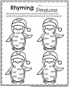 math worksheet : january kindergarten worksheets : Rhyming Kindergarten Worksheets