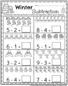 Kindergarten worksheets for January - Winter subtraction