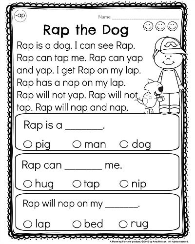 Worksheets Kindergarden Reading Worksheets kindergarten reading comprehension passages planning playtime worksheets by word families rap the dog from ap