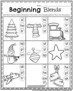 1st Grade January Beginning Blends Worksheet