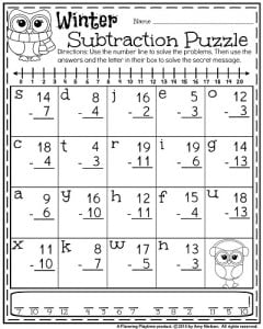 1st Grade January Worksheet - Subtraction Puzzle with a secret code.