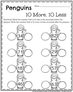 1st Grade January Worksheets 10 More 10 Less math