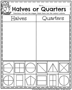 1st Grade January Worksheets - Shapes in Halves and Quarters