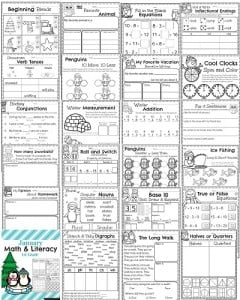 1st Grade Math and Literacy Printables Preview