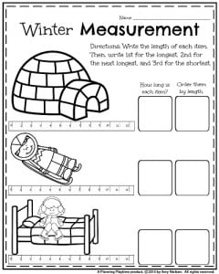 1st Grade Worksheets for January - Winter measurement.