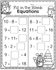 1st grade January Math Worksheet - Fill in the blanks equation.