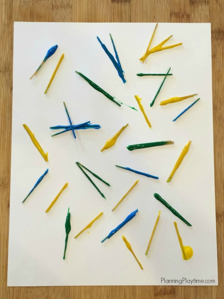 Awesome Art Project for Kids using broken spaghetti noodles to spread the paint. - PlanningPlaytime