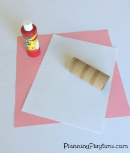 Cute Valentine's Craft for Kids - Use a toilet paper roll to stamp hearts onto a paper or card.