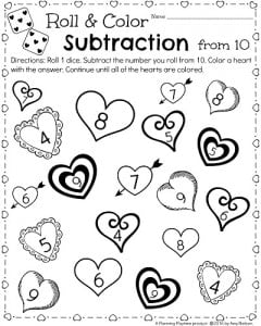 February Math Worksheet for Kindergarten - Subtraction Roll and Color Valentine's Theme.