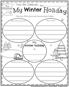 first grade writing prompts for winter planning playtime  first grade informative writing prompt my winter holiday