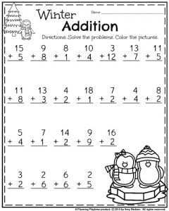 st grade worksheets for january first grade january worksheet  winter addition set