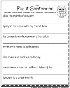 First Grade January worksheets - Fix it Sentences for Capitalization.
