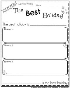 first grade writing prompts for winter planning playtime  first grade opinion writing prompt the best holiday