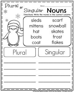 January 1st Grade Worksheets - Plural and Singular Nouns
