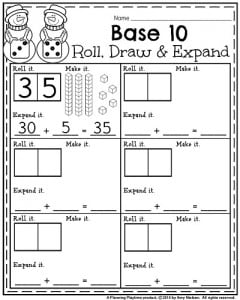 January 1st Grade worksheets - Roll, Draw, and expand in Base 10.