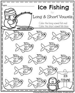 January 1st grade worksheets - Long and Short vowels Ice Fishing.