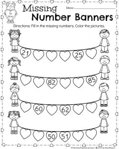 math worksheet : kindergarten math and literacy worksheets for february  planning  : Missing Number Worksheets For Kindergarten