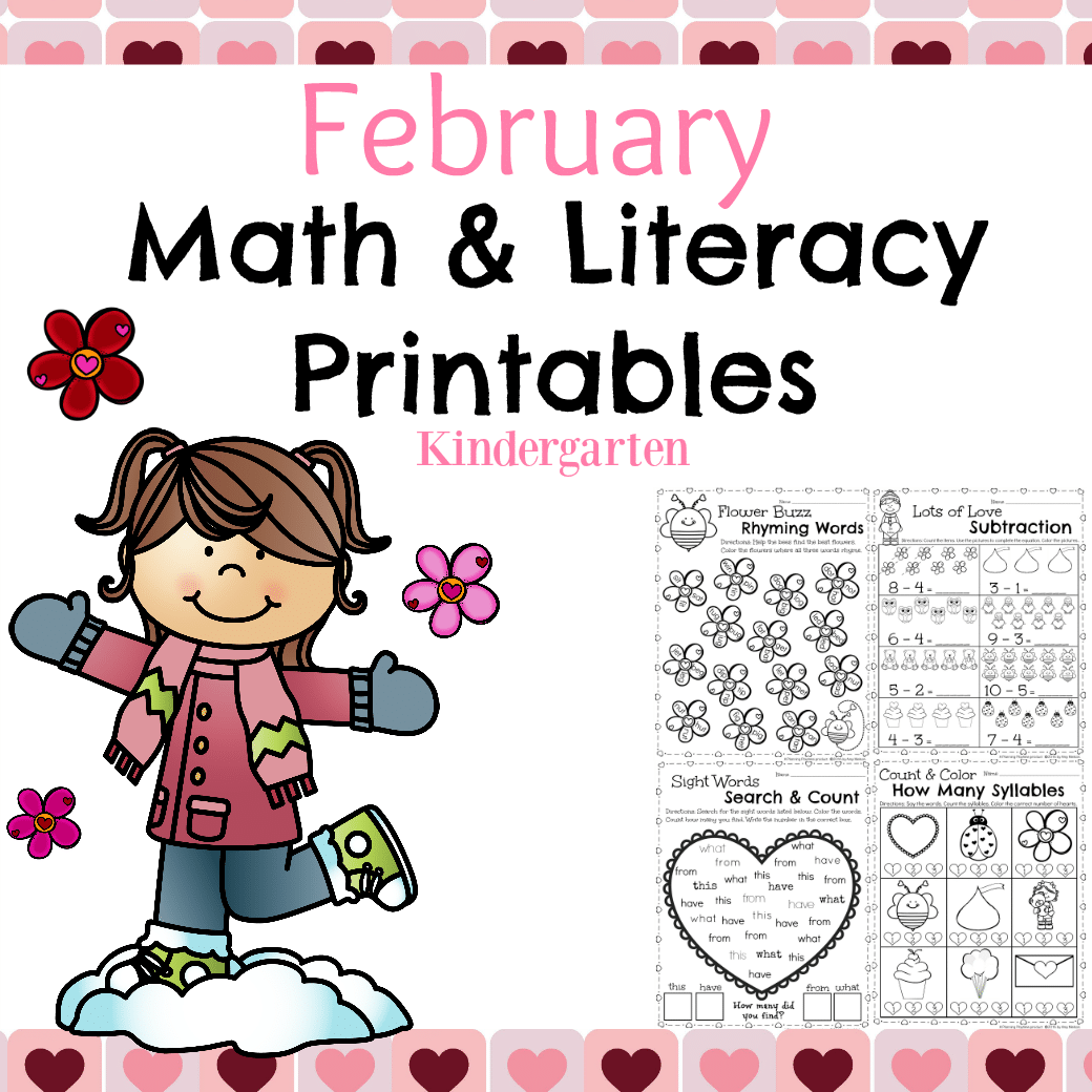 Worksheets For February : Kindergarten math and literacy worksheets for february