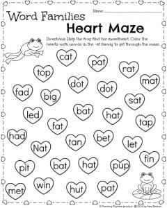 Kindergarten Word Families Worksheet for February - Help the frog find his way through the heart maze.