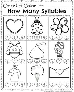Kindergarten Worksheets for February - Count and Color Syllables activity