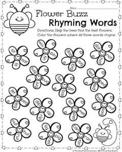 kindergarten math and literacy worksheets for february  planning  kindergarten worksheets for february  valentines day theme flower buzz  rhyming words activity
