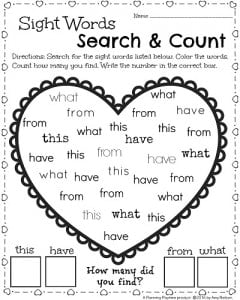 kindergarten math and literacy worksheets for february  planning   kindergarten worksheets for february  valentines theme sight words  worksheet find the words color