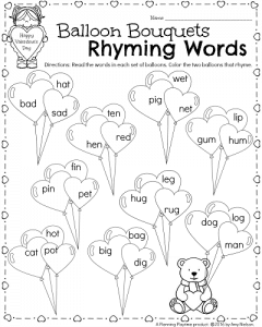 math worksheet : kindergarten math and literacy worksheets for february  planning  : Kindergarten Rhyming Worksheets Free