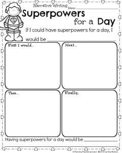 kindergarten math and literacy worksheets for february  planning  kindergarten writing worksheet for february  narrative writing prompt  superpowers for a day