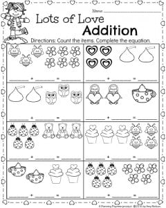 kindergarten math and literacy worksheets for february  planning  kindergarten math worksheet for february  lots of love addition printable  for valentines day