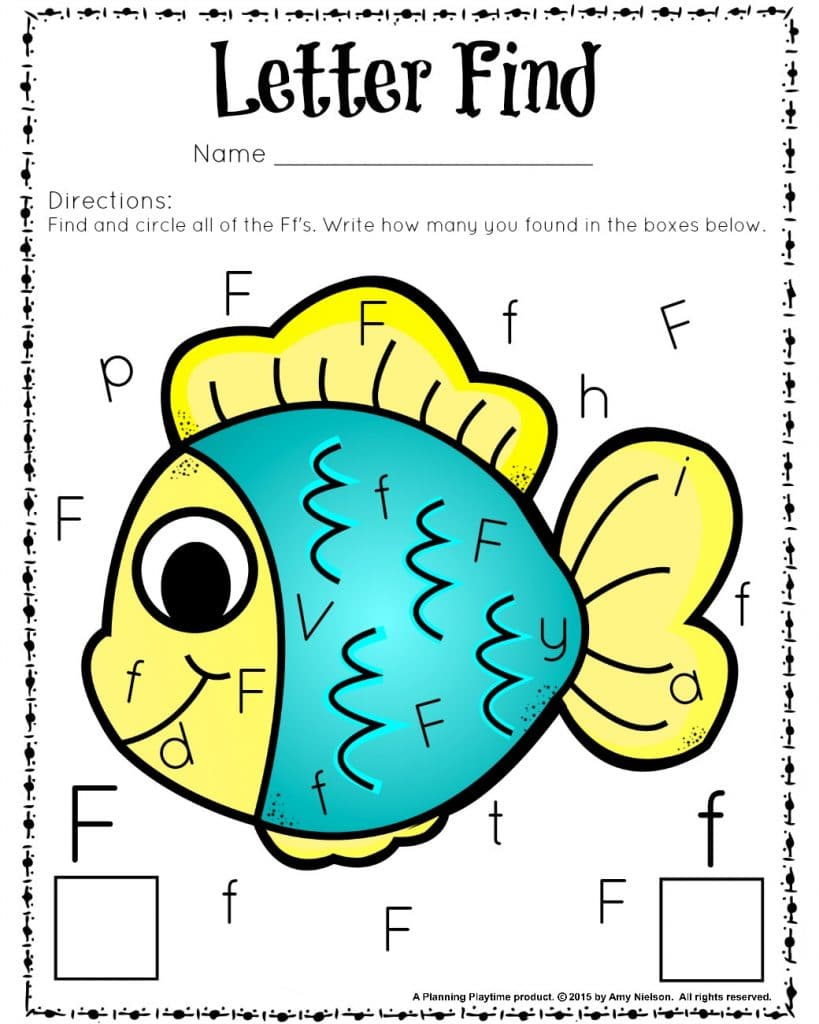 Preschool Letter Recognition Activities - Letter Find Worksheets