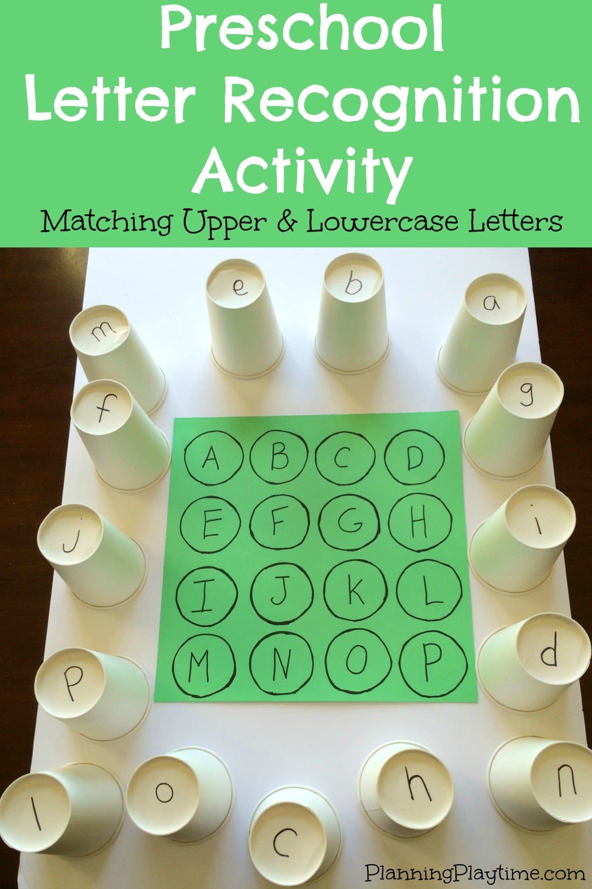 letter recognition kindergarten preschool letter recognition activities planning playtime 15236 | Preschool Letter Recognition Activities Matching Upper and Lowercase Letters using paper cups and lots of other fun activities.