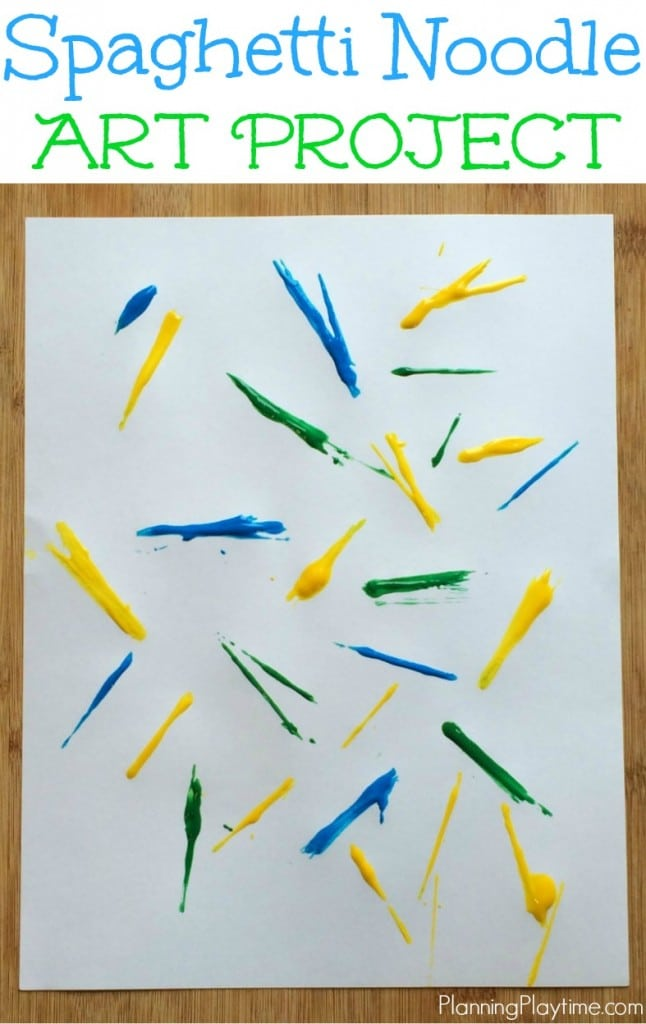 Spaghetti Noodle Art Project for kids - Dip the noodles in paint and drop them on the page. Take them off and let it dry.