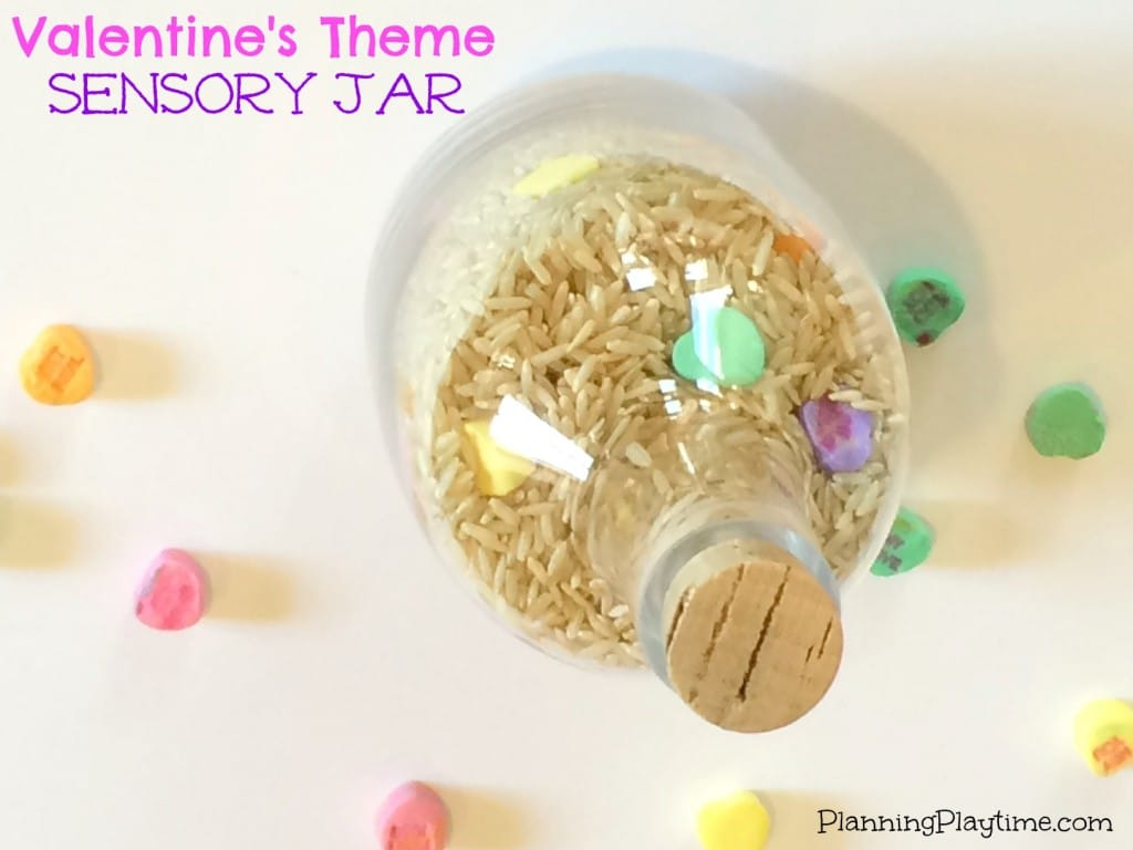 Valentine's Theme Sensory Jar - Using rice and candy hearts.