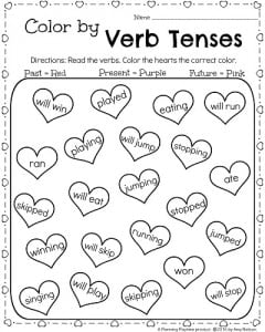 1st Grade February Worksheets - Color by Verb Tenses Past, Present, and Future.