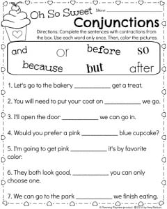 1st Grade Language Worksheet for February - Oh So Sweet Conjunctions